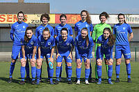team of KRC Genk with Gwen Duijsters (13) of KRC Genk   Lotte Van Den Steen (15) of KRC Genk   Lorene Martin (6) of KRC Genk   Hanne Merkelbach (25) of KRC Genk   goalkeeper Maren Van Wijngaarden (50) of KRC Genk   Sterre Gielen (14) of KRC Genk   Emily Steijvers (33) of KRC Genk   Luna Vanhoudt (43) of KRC Genk   Silke Sneyers (2) of KRC Genk   Fleur Pauwels (66) of KRC Genk   Sien Vandersanden (10) of KRC Genk  pictured during a female soccer game between SV Zulte - Waregem and KRC Genk Ladies on the 2nd matchday in play off 2 of the 2020 - 2021 season of Belgian Scooore Womens Super League , saturday 17 th of April 2021  in Zulte , Belgium . PHOTO SPORTPIX.BE | SPP | DIRK VUYLSTEKE