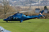 A helicopter takes off from the rugby ground opposite Virgin Active in Llandarcy, Wales, UK. Monday 19 March 2018