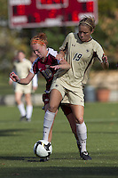 Florida State midfielder Tori Huster (10) and Boston College forward Kristen Mewis (19) battle. Florida State University defeated Boston College, 1-0, at Newton Soccer Field, Newton, MA on October 31, 2010.