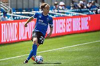 SAN JOSE, CA - APRIL 24: Tommy Thompson #22 of the San Jose Earthquakes looks up to pass the ball during a game between FC Dallas and San Jose Earthquakes at PayPal Park on April 24, 2021 in San Jose, California.