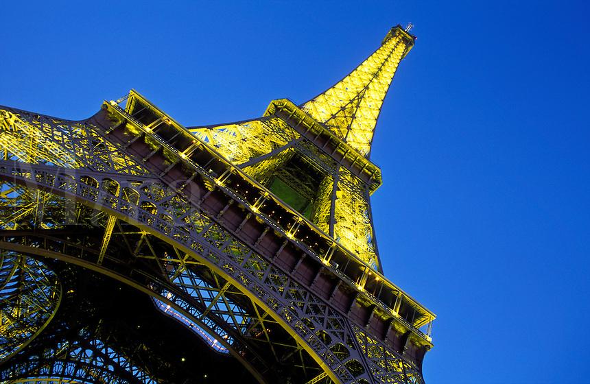 France, Paris, The Eiffel Tower illuminated at night
