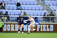 CHAPEL HILL, NC - NOVEMBER 16: Aleigh Gambone #16 of the University of North Carolina is chased by Sydney Cason #17 of Belmont University during a game between Belmont and North Carolina at UNC Soccer and Lacrosse Stadium on November 16, 2019 in Chapel Hill, North Carolina.