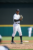 Detroit Tigers pitcher Cleiverth Perez (86) gets ready to deliver a pitch during a Florida Instructional League game against the Pittsburgh Pirates on October 6, 2018 at Joker Marchant Stadium in Lakeland, Florida.  (Mike Janes/Four Seam Images)
