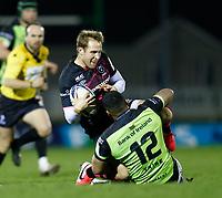 20th December 2020; The Sportsground, Galway, Connacht, Ireland; European Champions Cup Rugby, Connacht versus Bristol Bears; Max Malins (Bristol Bears) is tackled by Bundee Aki (Connacht)