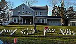 """WOODBURY, CT 19 DECEMBER- 121912JS03-  A group of supporters placed spelling """"HOPE"""" with luminarias outside  the Munson-Lovetere Funeral Home in Woodbury on Wednesday during calling hours for Sandy Hook Principal Dawn Hochsprung.. Jim Shannon Republican American"""