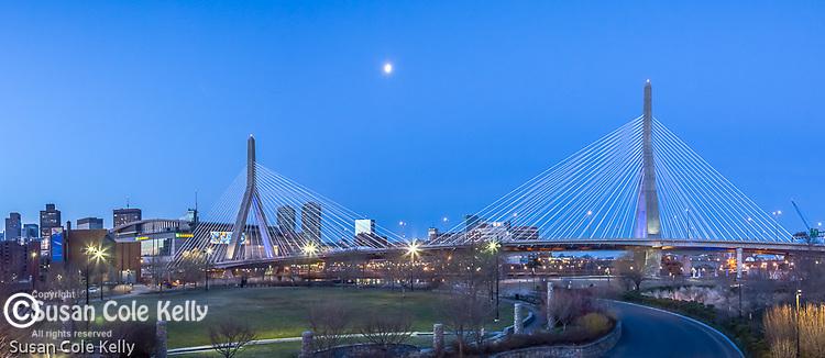 The Leonard P Zakim Bunker Hill Bridge seen from Paul Revere Park in Charlestown, Boston, Massachusetts, USA