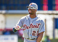 16 March 2014: Detroit Tigers outfielder Rajai Davis prepares for the start of play prior to a Spring Training Game against the Washington Nationals at Space Coast Stadium in Viera, Florida. The Tigers edged out the Nationals 2-1 in Grapefruit League play. Mandatory Credit: Ed Wolfstein Photo *** RAW (NEF) Image File Available ***