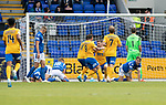 St Johnstone v Kilmarnock…31.08.19   McDiarmid Park   SPFL<br />Stephen O'Donnell scores for Killie<br />Picture by Graeme Hart.<br />Copyright Perthshire Picture Agency<br />Tel: 01738 623350  Mobile: 07990 594431