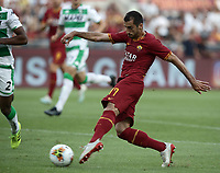 Football, Serie A: AS Roma - Sassuolo, Olympic stadium, Rome, September 15, 2019. <br /> Roma's Henrix Mikhitaryan scores during the Italian Serie A football match between Roma and Sassuolo at Olympic stadium in Rome, on September 15, 2019.<br /> UPDATE IMAGES PRESS/Isabella Bonotto