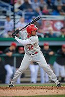 Auburn Doubledays Wilmer Perez (20) bats during a NY-Penn League game against the Batavia Muckdogs on June 14, 2019 at Dwyer Stadium in Batavia, New York.  Batavia defeated 2-0.  (Mike Janes/Four Seam Images)