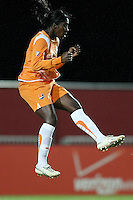 Sky Blue's Anita Asante (5), airborne.  Sky Blue defeated the Chicago Red Stars 1-0 in a mid-week game, Wednesday, June 17, at Yurcak Field.