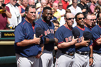 Boston Red Sox manager John Farrell, designated hitter David Ortiz, coaches Brian Butterfield and Victor Rodriguez during the national anthem before a Spring Training game against the Pittsburgh Pirates on March 12, 2015 at McKechnie Field in Bradenton, Florida.  Boston defeated Pittsburgh 5-1.  (Mike Janes/Four Seam Images)
