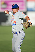 Reed Gamache (13) of the Kingsport Mets warms up in the outfield prior to the game against the Danville Braves at American Legion Post 325 Field on July 9, 2016 in Danville, Virginia.  The Mets defeated the Braves 10-8.  (Brian Westerholt/Four Seam Images)