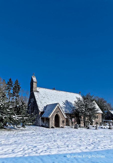 The exterior of St. Lawrence' Curch, Tubney, Oxfordshire following a snowfall in February 2019. The church was the only Protestant church designed by Augustus Pugin and was consecrated in 1847.