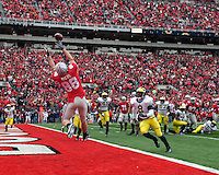 November 22, 2008. Ohio State wide receiver Rory Nicol tries unsuccessfully to pull in a potential touchdown reception. The Ohio State Buckeyes defeated the Michigan Wolverines 42-7 on November 22, 2008 at Ohio Stadium, Columbus, Ohio.