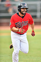 Elizabethton Twins third baseman Alex Robles (24) runs to first base during game two of the Appalachian League Championship Series against the Princeton Rays at Joe O'Brien Field on September 5, 2018 in Elizabethton, Tennessee. The Twins defeated the Rays 2-1 to win the Appalachian League Championship. (Tony Farlow/Four Seam Images)