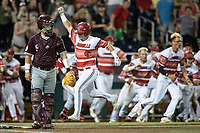 Louisville Cardinals designated hitter Danny Oriente (9) scores the winning run during the ninth inning of Game 10 of the NCAA College World Series against the Mississippi State Bulldogs on June 20, 2019 at TD Ameritrade Park in Omaha, Nebraska. Louisville defeated Mississippi State 4-3. (Andrew Woolley/Four Seam Images)