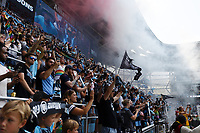 ST PAUL, MN - JULY 18: Minnesota United FC fans celebrate the win after a game between Seattle Sounders FC and Minnesota United FC at Allianz Field on July 18, 2021 in St Paul, Minnesota.