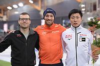 SPEEDSKATING: HAMAR: Vikingskipet, 29-02-2020, ISU World Speed Skating Championships, Sprint, Podium 1000m Men, Laurent Dubreuil (CAN), Kjeld Nuis (NED), Tatsuya Shinhama (JPN), ©photo Martin de Jong