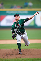 Great Lakes Loons starting pitcher Victor Gonzalez (22) delivers a pitch during the first game of a doubleheader against the Fort Wayne TinCaps on May 11, 2016 at Parkview Field in Fort Wayne, Indiana.  Great Lakes defeated Fort Wayne 3-0.  (Mike Janes/Four Seam Images)