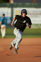 Joe Tolone (31) (Emory & Henry) of the Concord A's hustles towards third base against the Mooresville Spinners at Moor Park on July 31, 2020 in Mooresville, NC. The Spinners defeated the Athletics 6-3 in a game called after 6 innings due to rain. (Brian Westerholt/Four Seam Images)