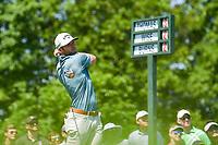 5th June 2021; Dublin, Ohio, USA; Sam Burns (USA) watches his tee shot on 1 during the Memorial Tournament Rd3 at Muirfield Village Golf Club on June 5, 2021 in Dublin, Ohio.