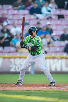 Eugene Emeralds first baseman Grant Fennell (21) at bat during a Northwest League game against the Salem-Keizer Volcanoes at Volcanoes Stadium on August 31, 2018 in Keizer, Oregon. The Eugene Emeralds defeated the Salem-Keizer Volcanoes by a score of 7-3. (Zachary Lucy/Four Seam Images)
