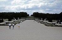 Scenic view of Vaux-le-Vicomte Chateau with walkways for visitors. Baroque design by Louis Le Vau. Maincy, France.