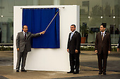 Mexico City, Mexico<br /> June 16, 2008<br /> <br /> (L-R) Secretary of Public Security Genaro Garcia Luna, Mexico's President Felipe Calderon and Interior Minister Juan Camilo Mourino unveil the new federal police center. The first of ten scheduled to open around the country.