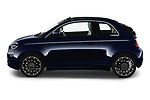Car Driver side profile view of a 2021 Fiat 500C La-Prima 2 Door Convertible Side View