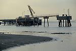 Thames estuary 1990s River Thames at low tide, an old landing pier. 1991