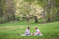 Dominick Bruno and Scarlett Turner enjoy some charcuterie and the beautiful weather Monday, April 5, 2021 in the Wilson Park in Fayetteville. There is some chance of rain on Wednesday and tempters are expected to stay in the lower to mid 70s for the rest of the week. <br /> (NWA Democrat-Gazette/Spencer Tirey)