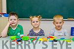 Róghan Kelleher, Scarlett and Aaron O'Sullivan junior infants in Cahir NS Kenmare on Thursday
