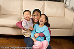 16 month old toddler boy with mother and 8 year old sister horizontal