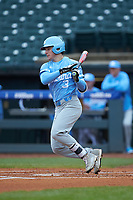 Kyle Datres (3) of the North Carolina Tar Heels follows through on his swing against the Boston College Eagles in Game Five of the 2017 ACC Baseball Championship at Louisville Slugger Field on May 25, 2017 in Louisville, Kentucky. The Tar Heels defeated the Eagles 10-0 in a game called after 7 innings by the Mercy Rule. (Brian Westerholt/Four Seam Images)