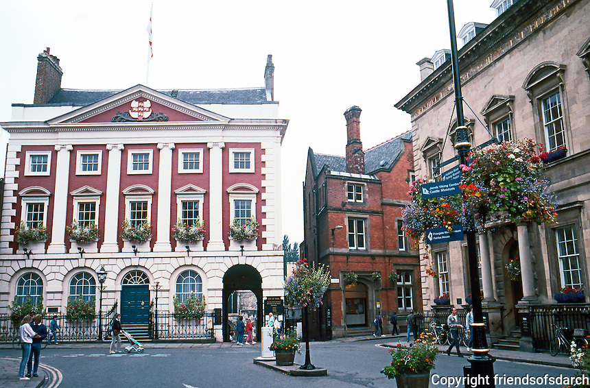 York: St. Helen's Square, Variety: to left, Mansion House, 1725-30, residence of Lord Mayor; then red brick Victorian, and on right, Classical Limestone dated 1824.