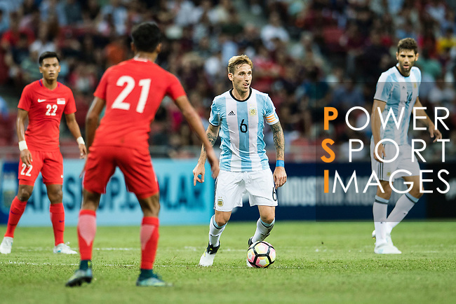 Lucas Biglia of Argentina (C) in action during the International Test match between Argentina and Singapore at National Stadium on June 13, 2017 in Singapore. Photo by Marcio Rodrigo Machado / Power Sport Images