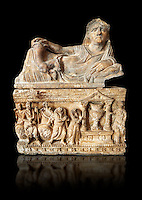 Etruscan Hellenistic style cinerary, funreary, urn , inv no 5774,  National Archaeological Museum Florence, Italy , black background