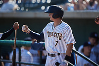 Nick Schnell (7) of the Charleston RiverDogs during the game against the Augusta GreenJackets at Joseph P. Riley, Jr. Park on June 27, 2021 in Charleston, South Carolina. (Brian Westerholt/Four Seam Images)