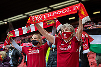 23rd May 2021; Anfield, Liverpool, England; EPL Premier League football, Liverpool versus Crystal Palace:  An 89-year-old Liverpool supporter sings You'll Never Walk Alone before the Premier League match between Liverpool and Crystal Palace at Anfield