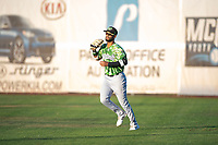 Eugene Emeralds right fielder Jonathan Sierra (22) catches a fly ball during a Northwest League game against the Salem-Keizer Volcanoes at Volcanoes Stadium on August 31, 2018 in Keizer, Oregon. The Eugene Emeralds defeated the Salem-Keizer Volcanoes by a score of 7-3. (Zachary Lucy/Four Seam Images)