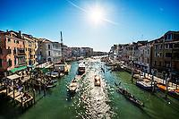View of Venetian canal from Rialto Bridge, Venice, Italy
