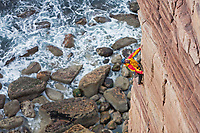 Dave Macleod on the 'Mucklehouse Wall' E5 6a, Hoy, Scotland