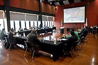 BOGOTA - COLOMBIA, 06-04-2021: Asamblea se la Dimayor en la Sede Deportiva de la Federación Colombiana de Futbol, en la ciudad de Bogota. / Assembly of the Dimayor at the Sports Headquarters of the Colombian Soccer Federation, in the city of Bogota. Photos: /VizzorImage / Luis Ramirez / Staff.