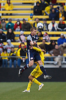 8 MAY 2010:  New England Revolutions' Zak Boggs (33) and Frankie Hejduk during MLS soccer game between New England Revolution vs Columbus Crew at Crew Stadium in Columbus, Ohio on May 8, 2010. The Columbus defeated New England 3-2.