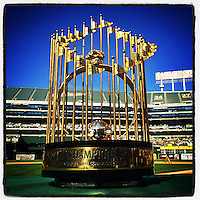 OAKLAND, CA - JULY 19: Instagram of the 1989 World Series trophy as the Oakland Athletics celebrate the 25 year reunion of their 1989 World Series championship team at O.co Coliseum on July 19, 2014 in Oakland, California. Photo by Brad Mangin