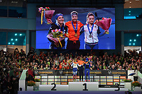 SPEEDSKATING: HEERENVEEN: 11-01-2020, IJsstadion Thialf, European Championship distances, Podium 3000m Ladies, Francesca Lollobrigida (ITA), Esmee Visser (NED), Natalia Voronina (RUS), ©foto Martin de Jong