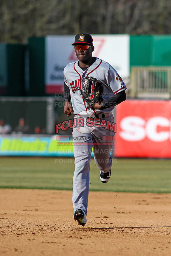 Quad Cities River Bandits outfielder Daz Cameron (16) runs into the dugout between innings of a Midwest League game against the Wisconsin Timber Rattlers on April 8, 2017 at Fox Cities Stadium in Appleton, Wisconsin.  Wisconsin defeated Quad Cities 3-2. (Brad Krause/Four Seam Images)