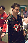 John D'Agostino has just been eliminated from the tournament when his pocket jacks failed to improve against the pocket aces of Victor Ramdin.