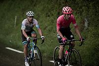 race leaders Alexey Lutsenko (KAZ/Astana) & Michael Woods (CAN/EF Education First) forcing their way through the torrential rain<br /> <br /> Stage 7: Saint-Genix-les-Villages to Pipay  (133km)<br /> 71st Critérium du Dauphiné 2019 (2.UWT)<br /> <br /> ©kramon